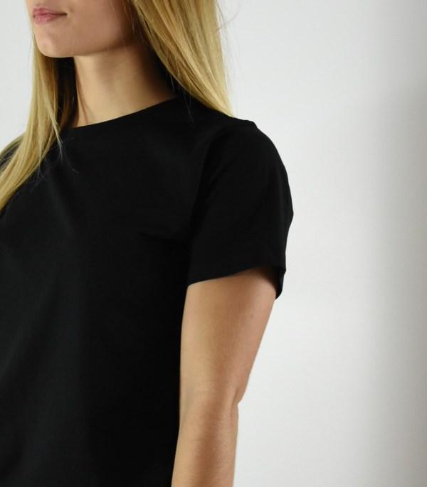 Tee-shirt Femme Noir Col rond en coton bio