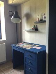 bureau bois repeint déco chambre ado