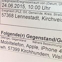 beklaut - Handy - iPhone 4S geklaut - Anzeige erstattet