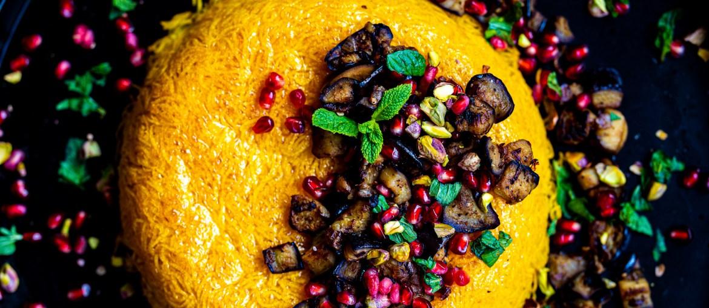 Rezept für vegane Thadig_goldgelber Safranreis mit Auberginen auf lebensverliebt.de