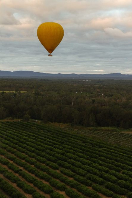 Flying in a hot air balloon