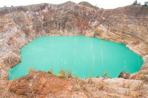 Emerald lake at Kelimutu crater