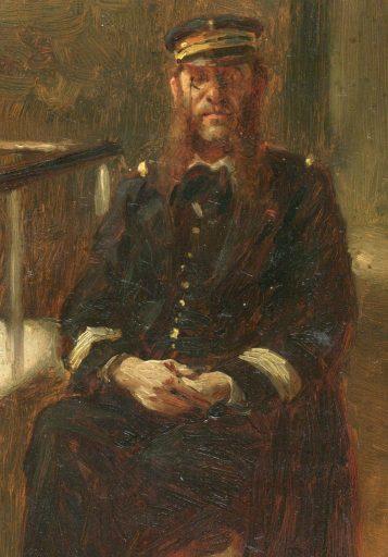 Augustin Emmanuel Félix Marie D'HOMBRES (1836 - 1904) Né le 18 août 1836 à Saint-Jean du Bruel (Aveyron). Commandant de la base de Cherbourg. Tableau de 1884