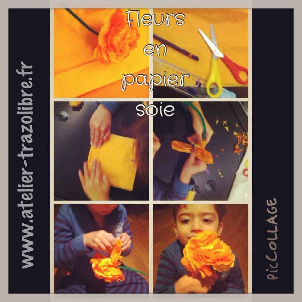 Fleur de papier soie pour enfants / flores de papel seda para niños (5/6)