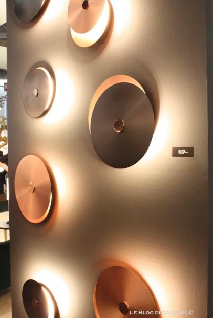 luminaire applique murale cuivre disque