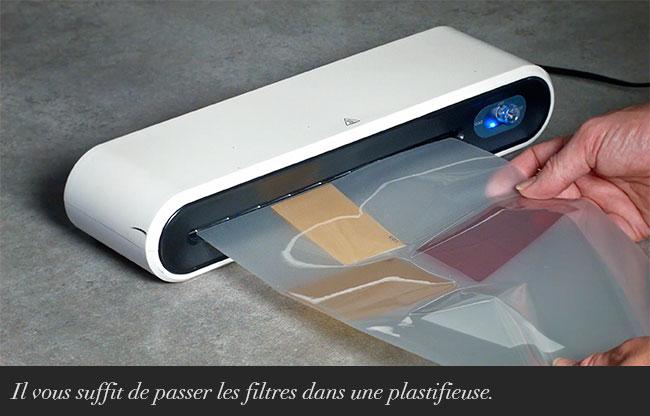 Il vous suffit de passer les filtres dans une plastifieuse.