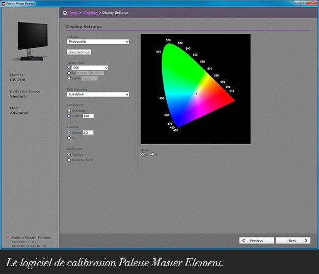 Le logiciel Palette Master Element.