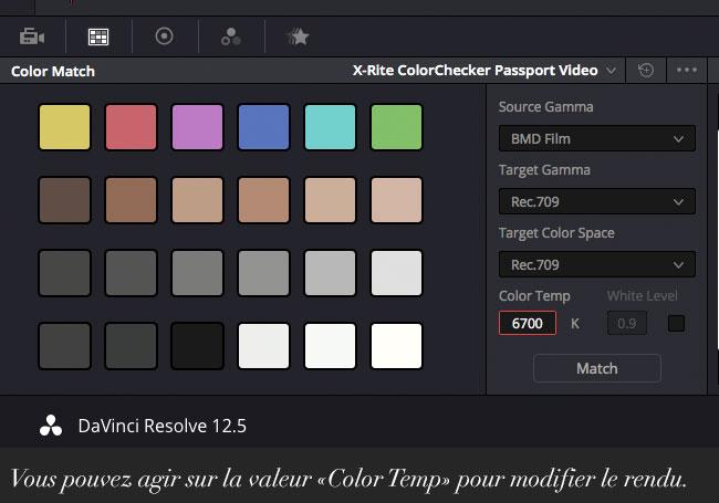 Vous pouvez agir sur la valeur «Color Temp» pour modifier le rendu.