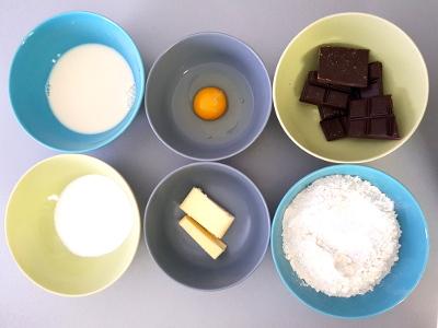 Ingrédients des muffins au chocolat