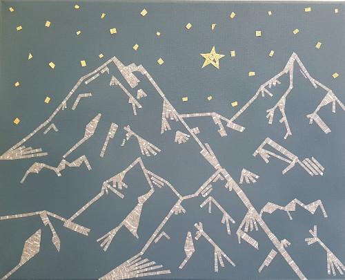 tableau géométrique montagnes et masking tape