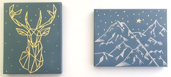 tableaux géométriques cerf et montagnes