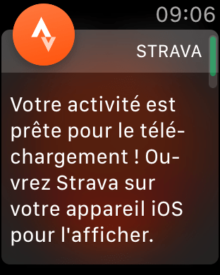 Notification sur la montre