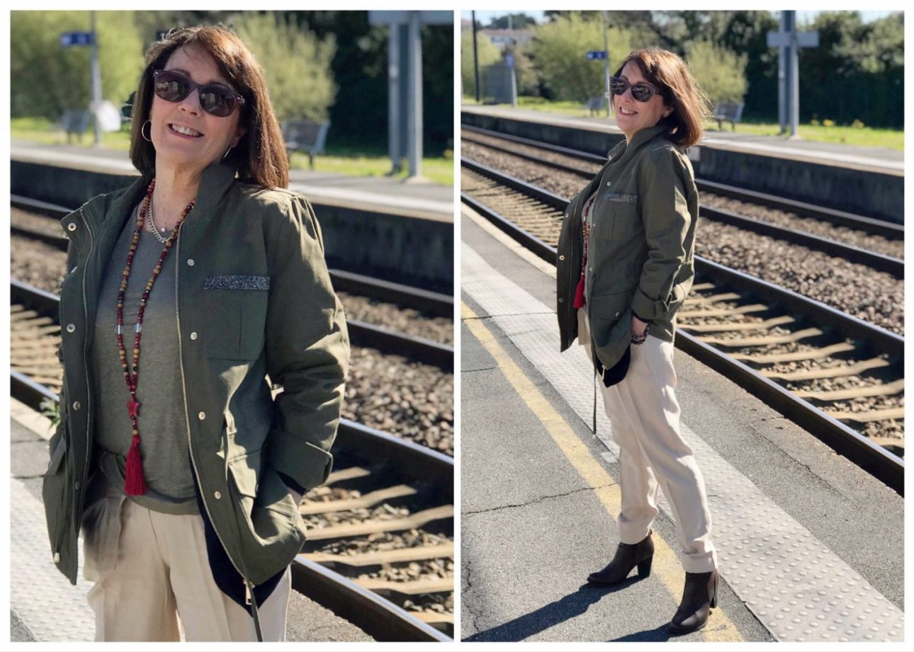 Ma tenue de printemps Elora, saharienne et pantalon carotte