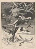 """Pour beaucoup, les aéroplanes sont perçus comme l'arme de la """"Revanche"""" contre l'Allemagne, incarnée ici par son ancien chancelier Bismarck."""