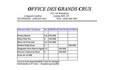 Liste Bières Almanac Brewing / Office Des Grands Crus 2014