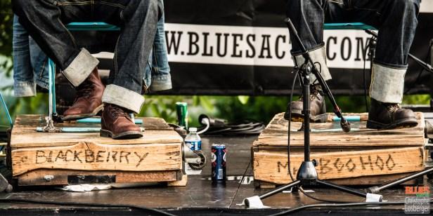 Bastien (guitar, vocals), Franck (vocals, harmonica). Blackberry'n Mr Boo-Hoo @ 4ème Blues Party, Les Jardins du Millenium, l'Isle d'Abeau (France), 04.06.2016. (c) Christophe Losberger