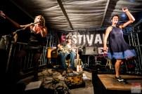 Greg Garghentini (vocals, guitar, cigarbox, percussions), Léa Barbier (tap dancing) and guest Sofie Reed (vocals). One Rusty Band @ 5ème Blues Party, Les Jardins du Millenium, l'Isle d'Abeau (France), 10.06.2017. (c) Christophe Losberger