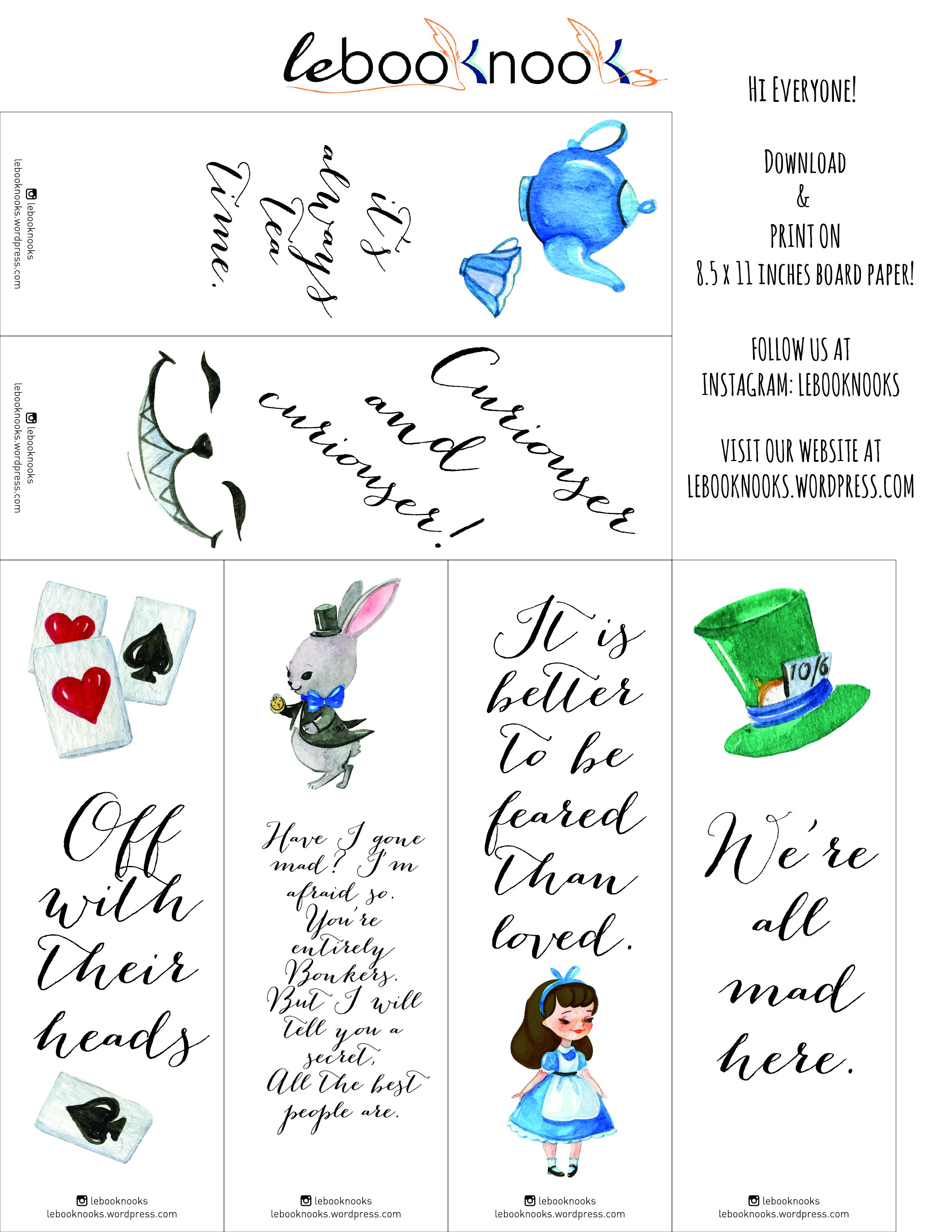 Friday Freebies Alice In Wonderland Printable Bookmarks
