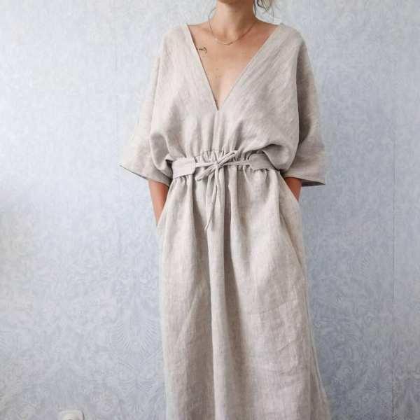 Oversized linen kimono style dress