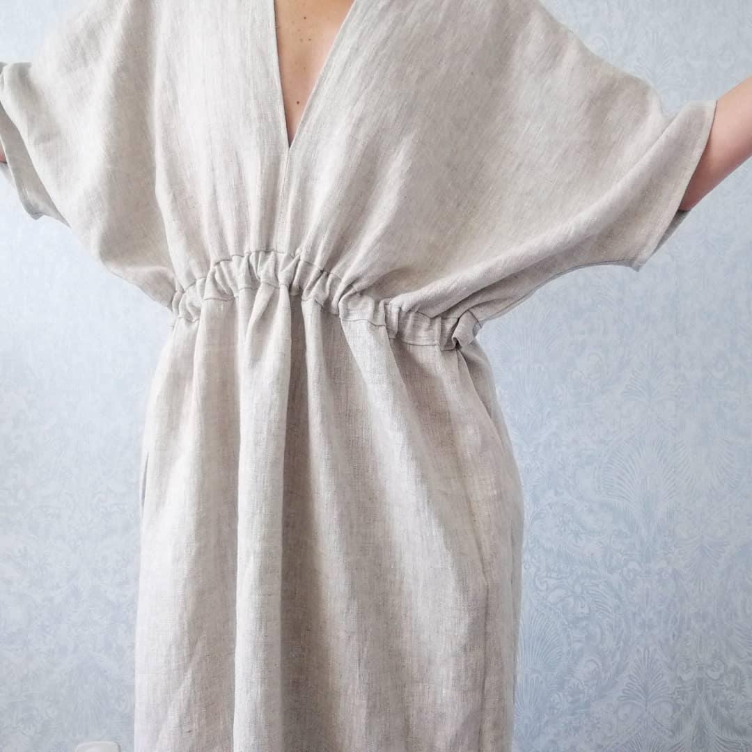 Winter dress linen kimono dress AURORE heavy linen dress