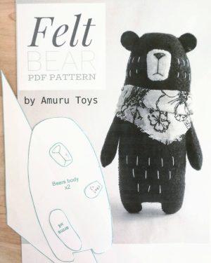DIY felt bear toy pattern