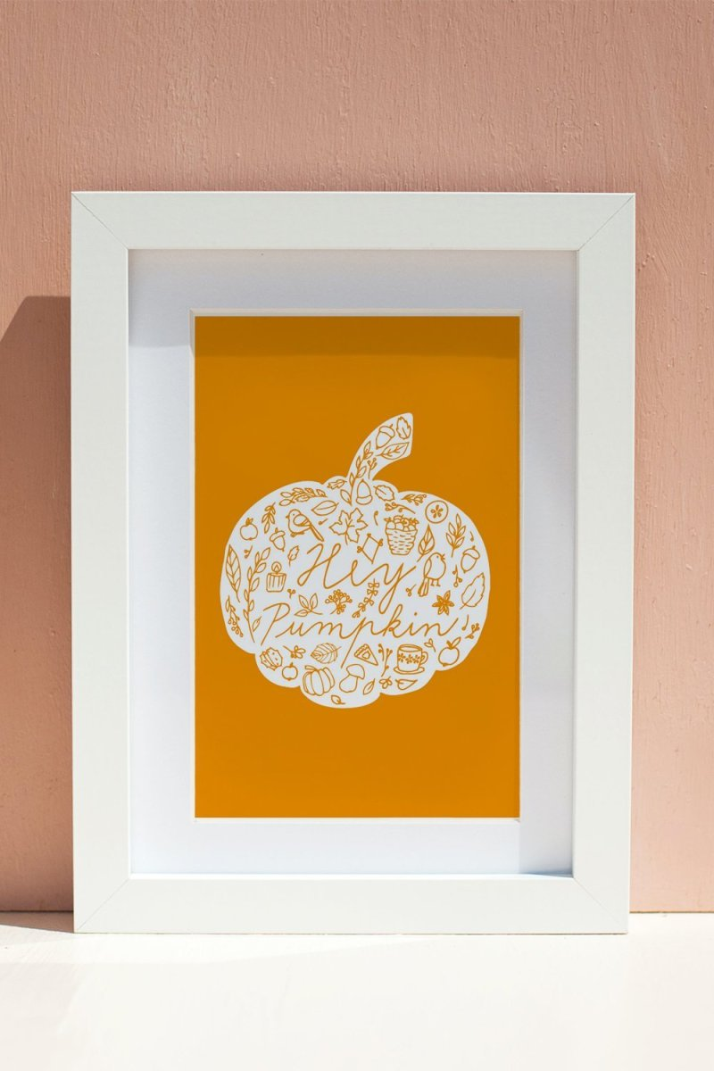 orange pumpkin wall art