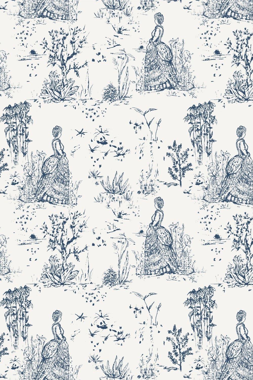 sketched toile de jouy pattern