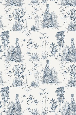 sketched toile de jouy pattern