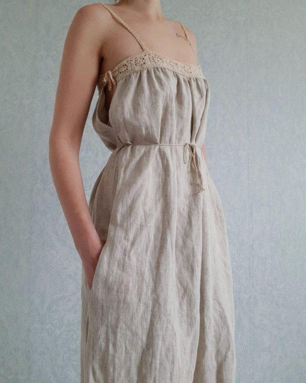 Clemence linen summer dress with crochet detail
