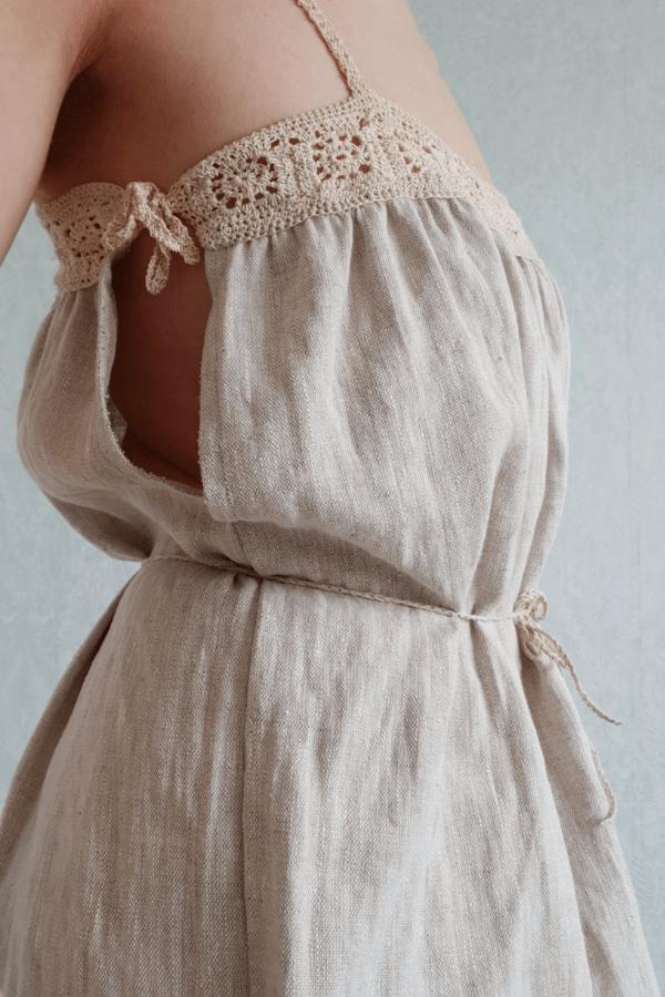 Cotton crochet linen dress Clemence