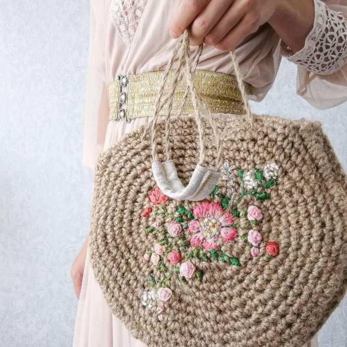 crochet jute purse