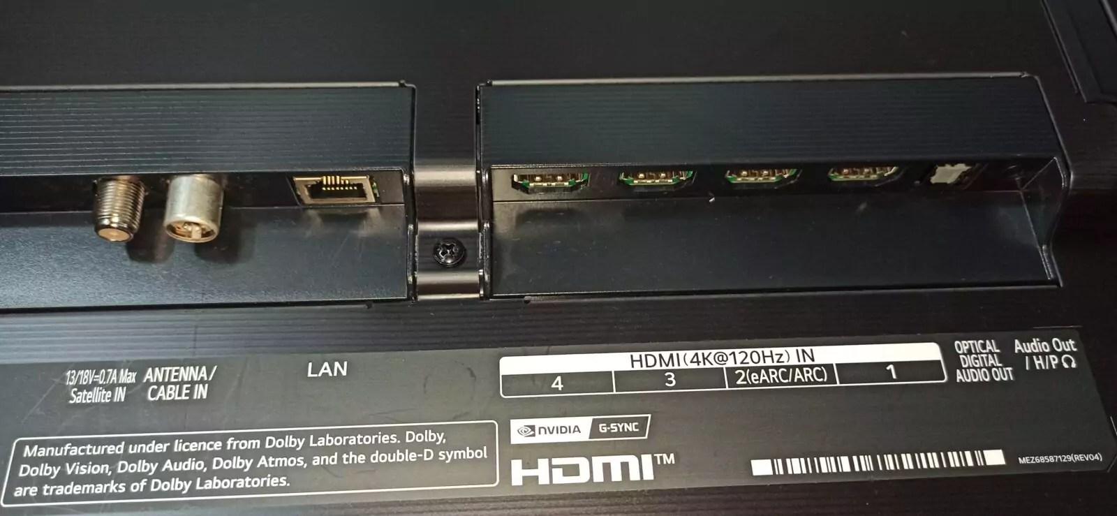 LG 65G1 Prise Antennes, HDMI LAN Optical audio
