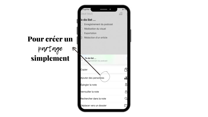 Créer un partage simplement sur l'application Notes de Apple