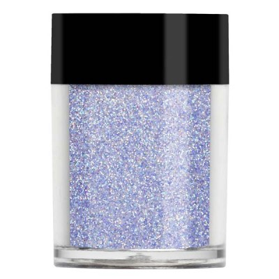 Nail art glitter in an iridescent lilac toned blue.