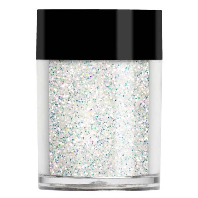 Nail art glitter in a larger cut iridescent glitter. Looks different over different colour bases.