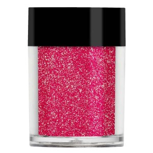 Nail art glitter in iridescent pink with gold undertones.