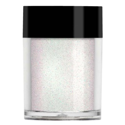 Nail art glitter in white in a finer cut. Looks different over different colours.