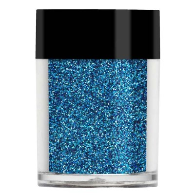 Nail art glitter in an iridescent dark blue with turquoise and navy undertones