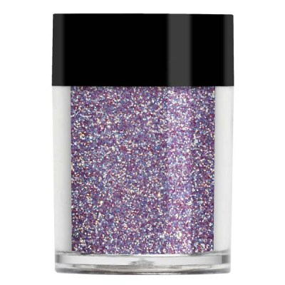 Nail art glitter in an iridescent dusty purple colour with pale blue and white undertones.