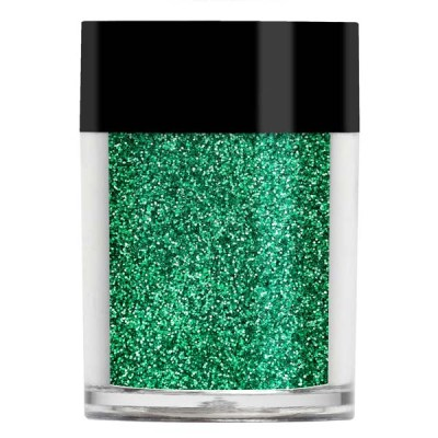 Nail art glitter in an iridescent vibrant green colour with turquoise undertones.
