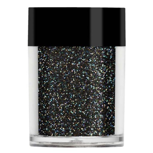 Nail art glitter in a translucent black with multi coloured undertones.