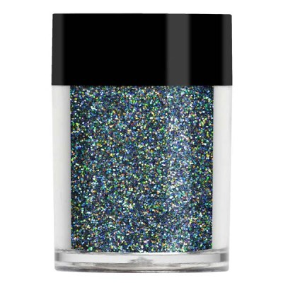 Nail art glitter in an iridescent grey toned blue colour with multi coloured undertones.