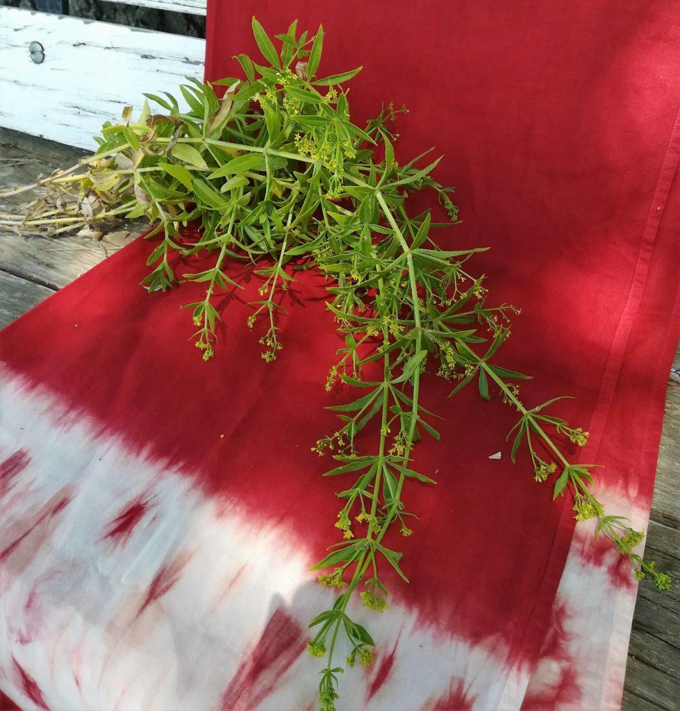 textile teint rouge garance et petit bouquet de garance.
