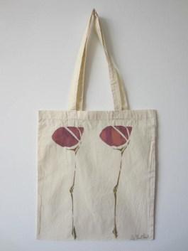 Scottish Flower - Hand-Printed Bag, Cream I
