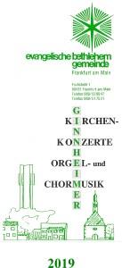 """Faltblatt Ginnheimer Kirchenkonzerte, Orgel- und Chormusik"""" 2019"""