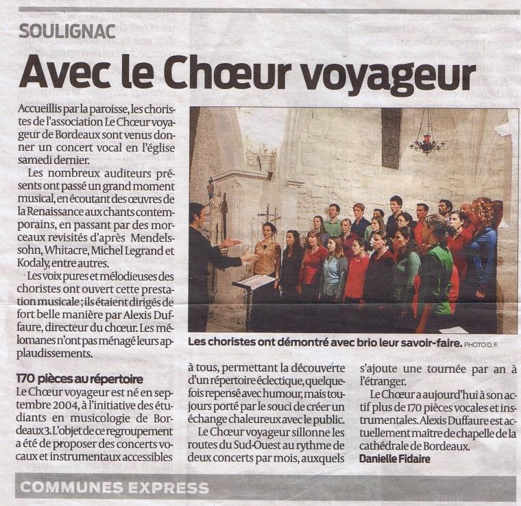 Article Concert Soulignac