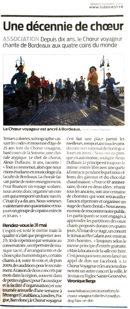 Sud-Ouest, 29 avril
