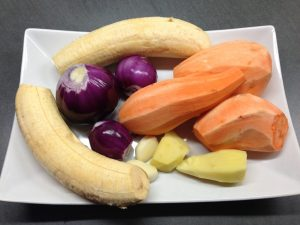 Süßkartoffeln, Kochbananen, Zwiebeln, Ingwer Konoblauch