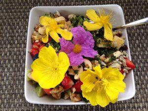 Frühstück mit Früchten und essbaren Blüten