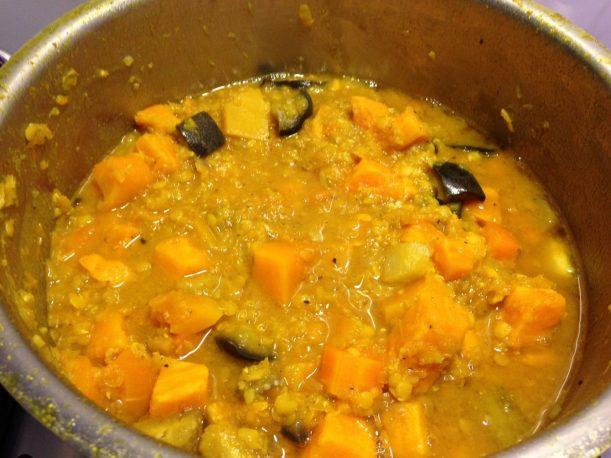 Papaya Süßkartoffel Kürbis Linsen Curry